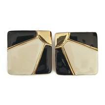 Vintage Enamel Gold Tone Clip On Earrings Art Deco Square Pat 2733491 19... - $29.69