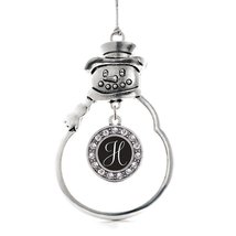 Inspired Silver My Script Initials - Letter H Circle Snowman Holiday Chr... - $14.69