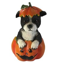 Pumpkin Shaped Dog Figurine Halloween Statue w LED Lights Cute Party Dec... - €14,66 EUR