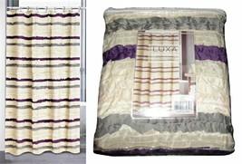 Popular Bath Luxa Hotel Jaslin Shower Curtain Cream Purple Gray NEW - $44.55