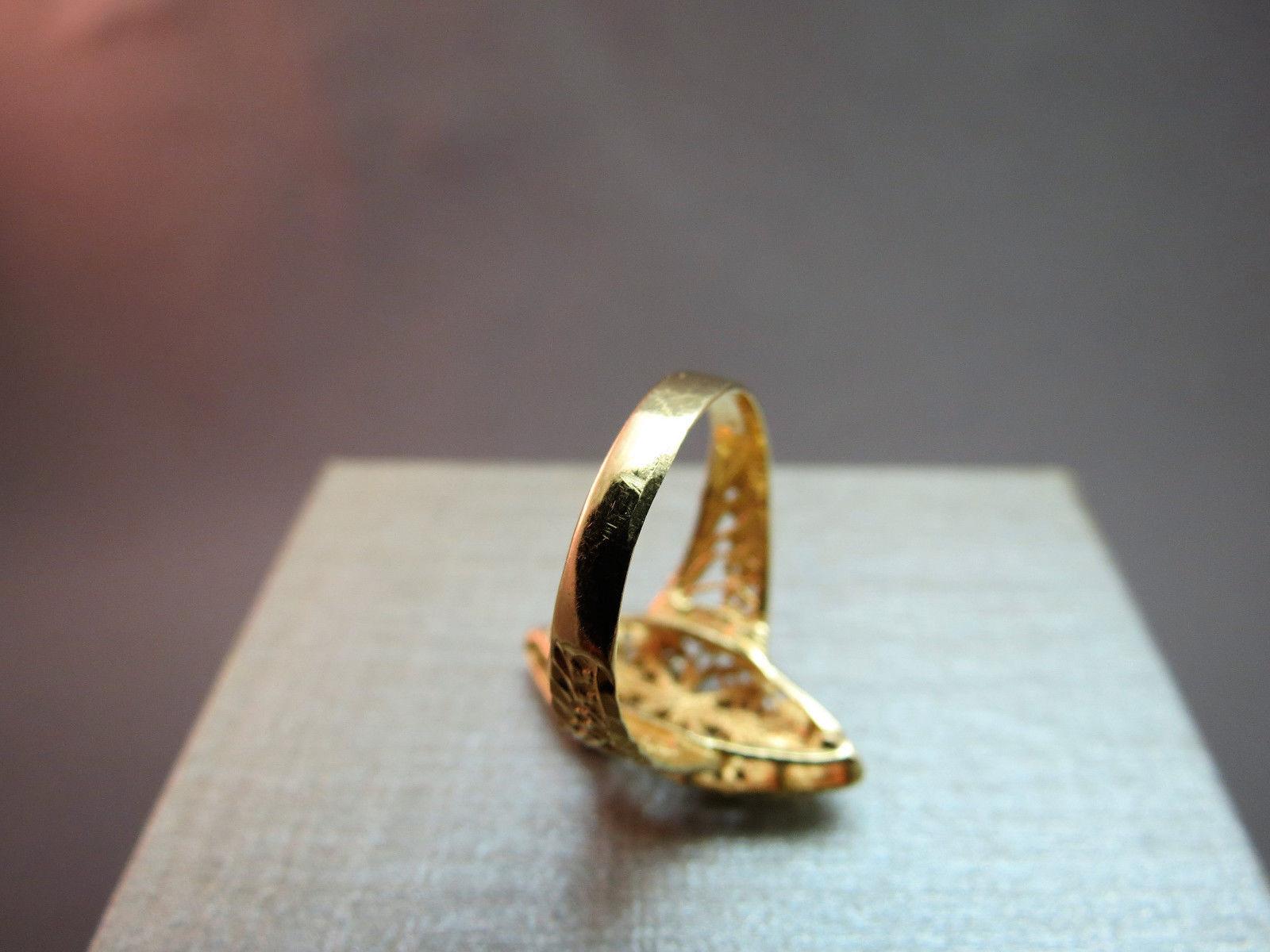 14K Diamond Yellow Gold Ring Size 6 Monogram T 3g Letter Initial Open Work Nice!