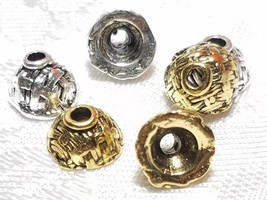 4pcs. Weave Pattern Fine Pewter Bead Caps - 5x8x8mm; Hole 2mm