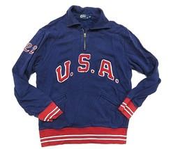 Polo By Ralph Lauren USA Spell Out Blue & Red 1/4 Zip Pullover Sweatshirt Sz XL - $148.45
