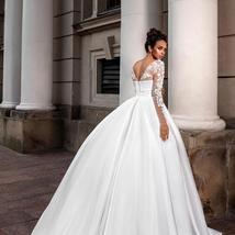 European Princess Satin Maternity Wedding Gown A-line Long Sleeve Floral Appliqu image 3