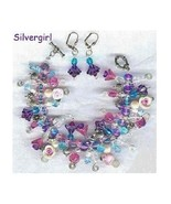 Flower Garden Loaded Charm Bracelet and Earring Set - €50,27 EUR
