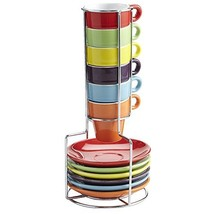 Pier 1 Imports Multicolor Colorful Stacking Espresso Demitasse 1.5oz Mug... - $39.55