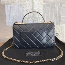 AUTHENTIC CHANEL BLACK QUILTED LEATHER 2 WAY TOP HANDLE FLAP BAG GHW image 2