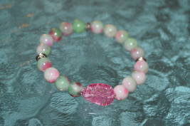 Cyber Monday Sale Mixed Jade Pink whie green 8 mm Mala Beads Bracelet - ... - $25.98