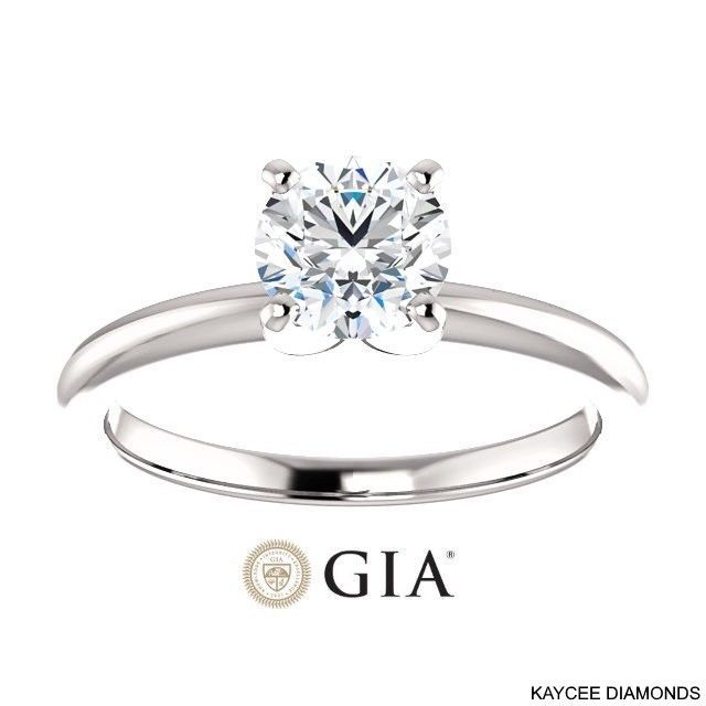 3/4 (0.75) Carat GIA Certified Diamond Ring in 14K Gold (with GIA certificate)