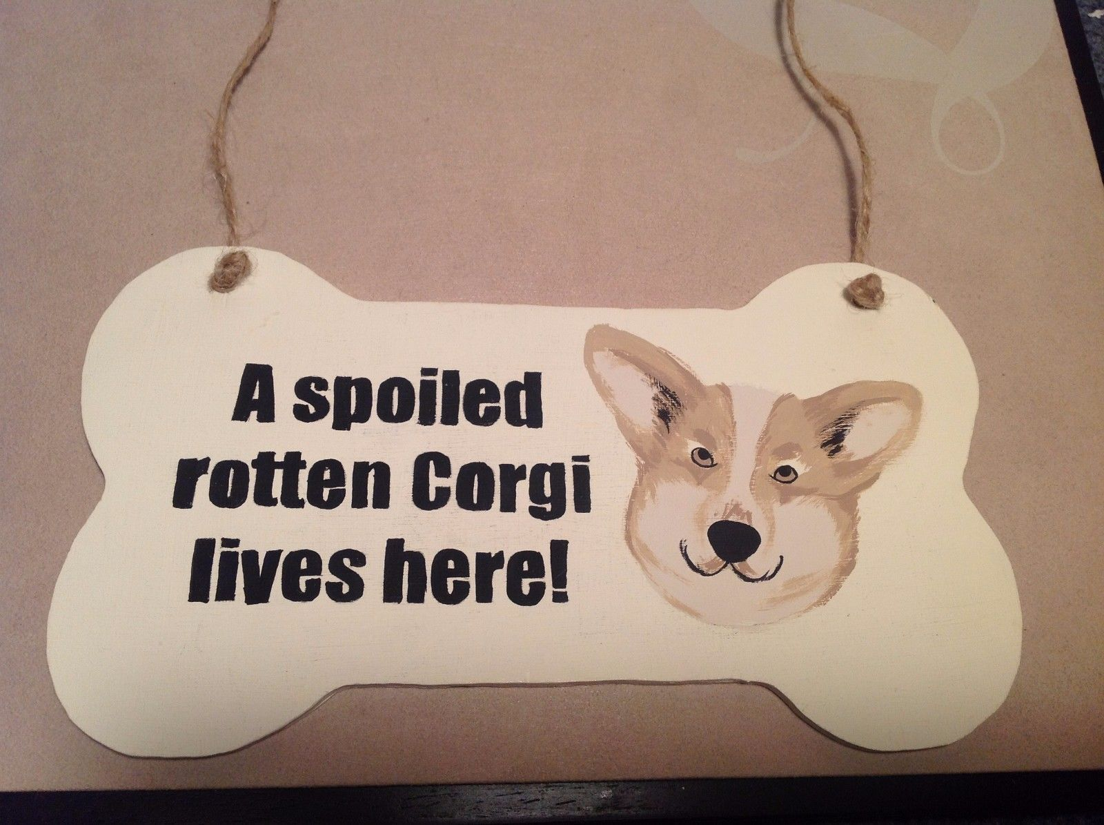 Elf Works Lane Wood Sign Spoiled rotten Corgi lives here USA made