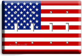 USA AMERICAN 4 GANG FLAG LIGHT SWITCH COVER WALL PLATE US PATRIOT ROOM A... - $17.99