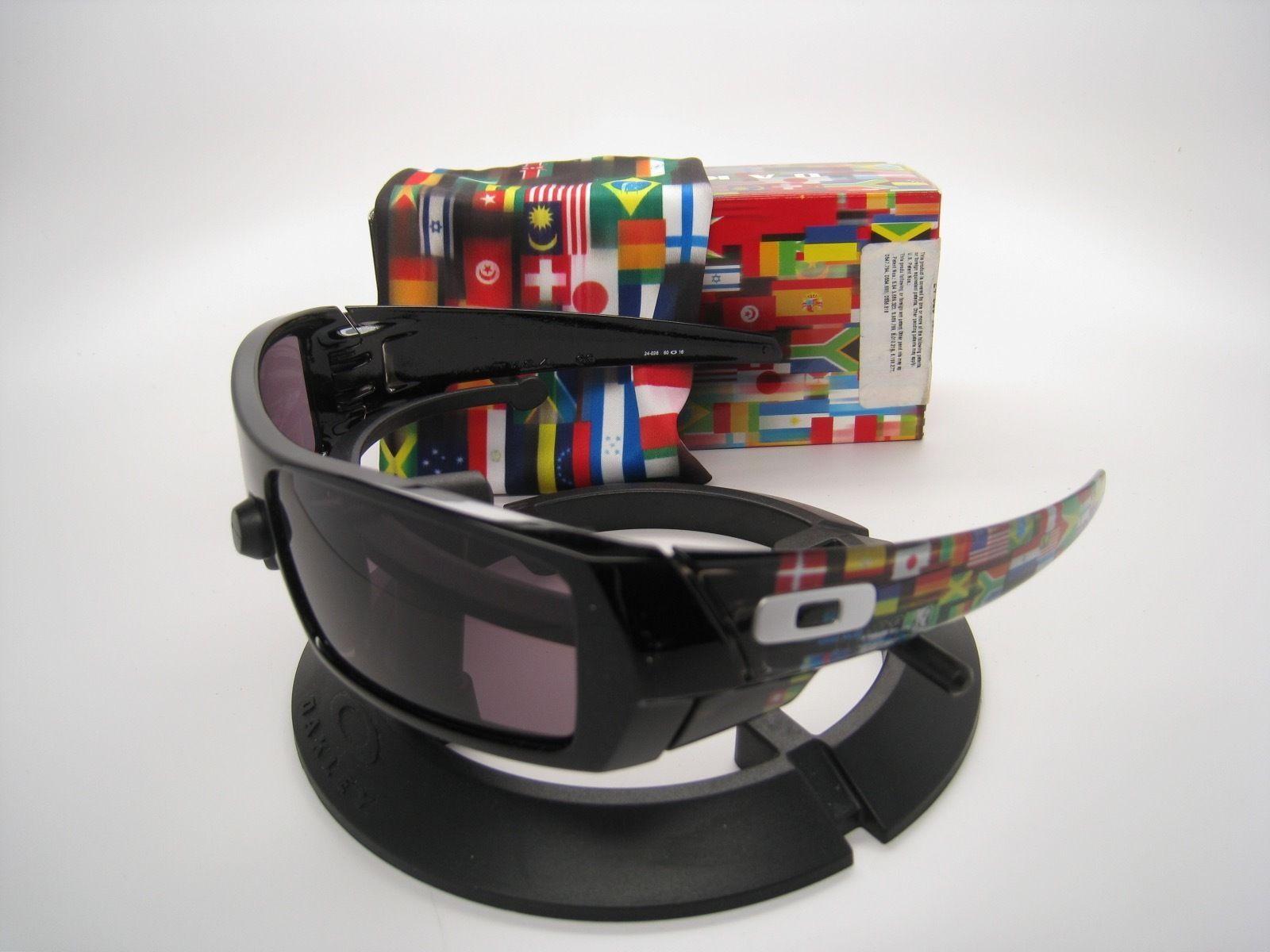Rare Neuf Oakley Limité Global Gascan Poli Blk W/Drapeaux W / Gris 24-028