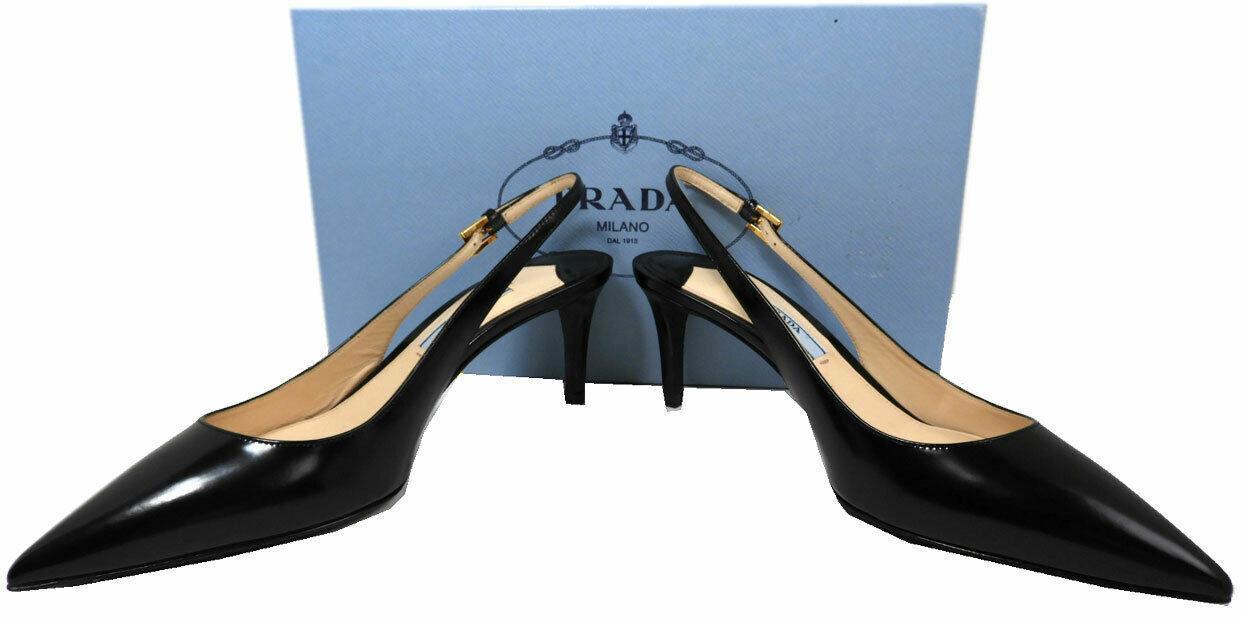 Prada Kid Leather Slingbacks Pumps Black Kitten Heel Sandals Pointy Toe Shoes 36