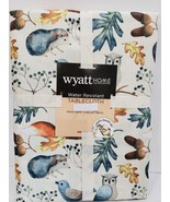 Thanksgiving Fall Owls Acorns Squirr  Birds Blue Fabric Tablecloth 60 x ... - $28.99