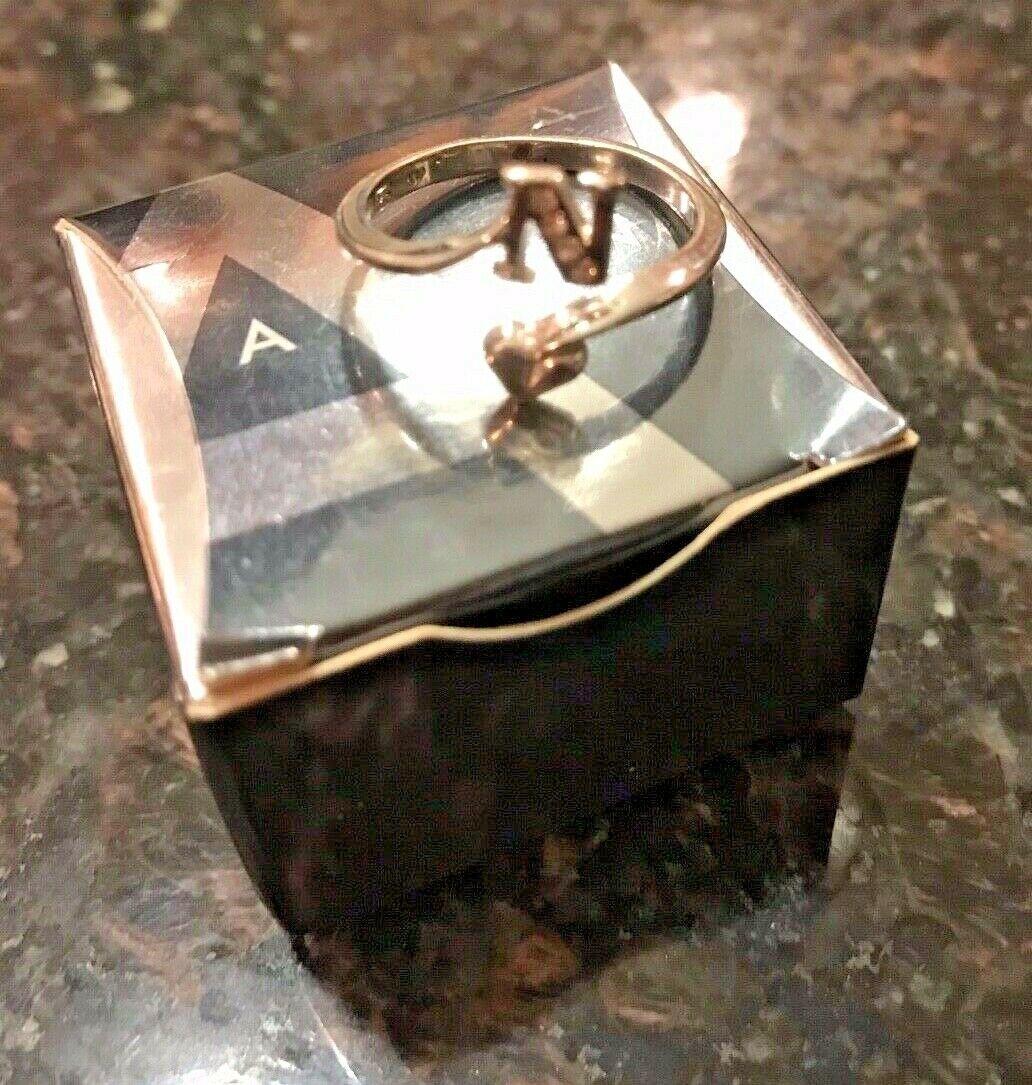 """Vintage Avon Initial """"N"""" 925 Sterling Silver Ring w Gemstones Adjustable image 3"""