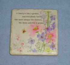 "Hallmark Ceramic Tile Plaque ""A family's like a garden,  and everybody k... - $6.99"