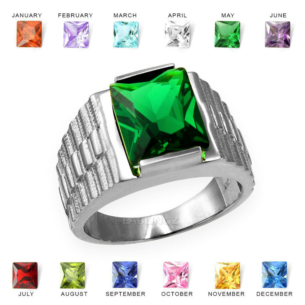 10K White Gold Mens Square CZ Birthstone Watchband Ring