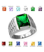 10K White Gold Mens Square CZ Birthstone Watchband Ring - $389.99