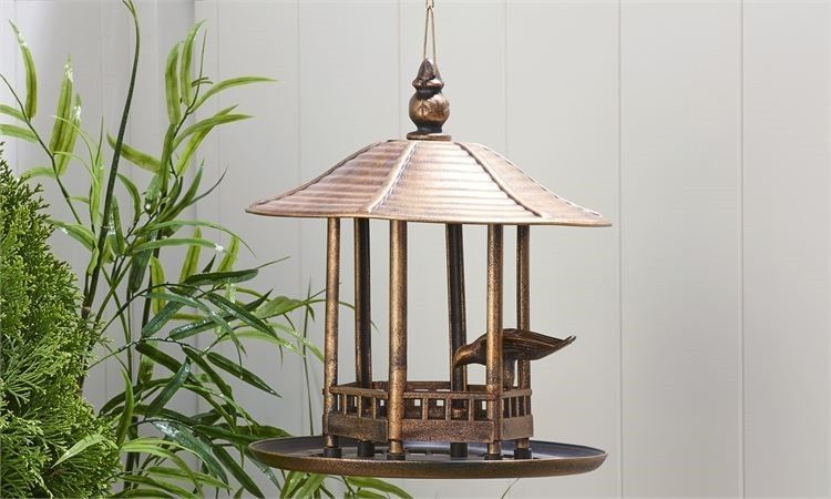 "13"" high Hanging Pagoda Design Birdfeeder Antiqued Gold Finish Plastic"