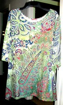 BRIGHT LEAVES on GREEN Top Plus Size 3X Simply Aster - $20.00