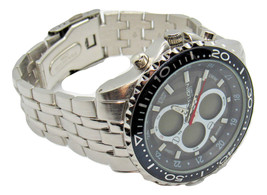 Mens Bold Elgin Chronograph Watch Silver-tone Quartz Wristwatch Anadigital - $63.00