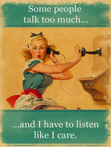 Some People Talk Too Much Vintage Phone Pin Up Girl Metal Sign - $24.95