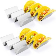 Taco Holder Stand, HapWay 4 Pack Stainless Steel Taco Truck Tray Style, ... - $16.99