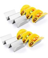 Taco Holder Stand, HapWay 4 Pack Stainless Steel Taco Truck Tray Style, ... - £13.11 GBP