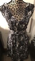 NWT Ann Taylor Loft Trulli Black Gray White Print Dress Sleeveless Sz S C22 - $21.49