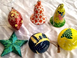Christmas ornaments decoration paper mache balls star oval bells 6 pc pack - $46.08