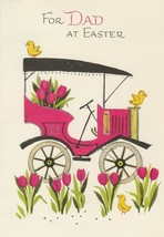 Vintage Easter Card Antique Car Chicks Tulips Glitter Trim Gibson For Dad - $8.90