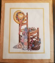 Bucilla Counted Cross Stitch Kit Summer Dreams Chair Straw Hat Flowers 9... - $15.00