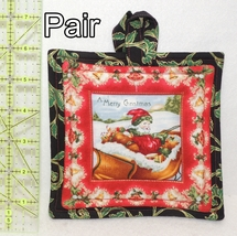 Pot Holders - Pair - Merry Christmas Santa Claus Sleigh - PHDR - $7.00