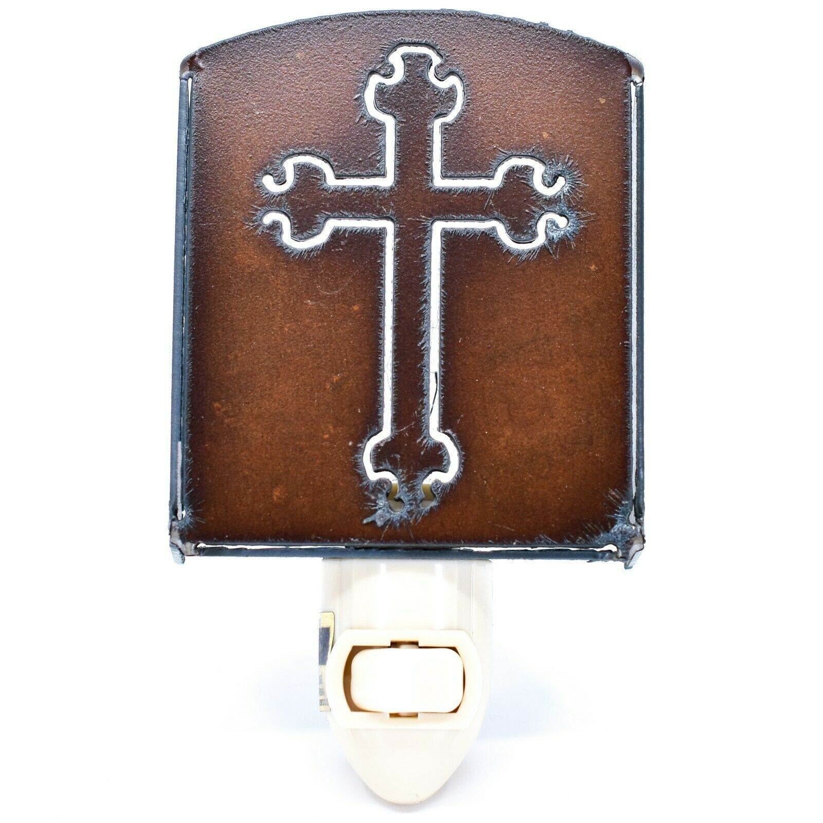 Country Western Rusted Patina Iron Metal Cutout Religious Cross Nightlight Light