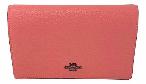 Coach Foldover Clutch Wallet Pebbled Leather Crossbody Bag (Pink Lemonade)