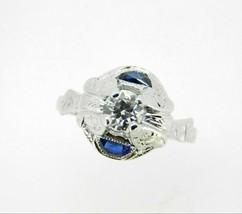 Art Deco 18k White Gold Diamond and Sapphire Ring (#J5057) - $1,211.25