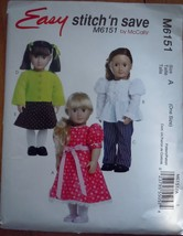 """Easy McCall's Stich N Save American Girl Type Doll Size 18"""" #M6151 - $2.99"""
