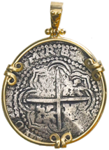 PENDANT BOLIVIA JEWELRY 1649 8 REALES PIRATE GOLD COINS CAPITANA SHIPWRE... - $2,495.00