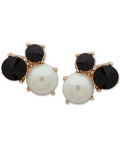 Anne Klein Gold-Tone Stone & Imitation Pearl Cluster Clip-On Stud Earrings - $9.79