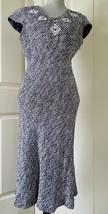 Nwt Pretty Oscar De La Renta Blue Wht Tweed Embroidery Dress Us 10 - $95.00