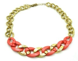 Pink Acrylic Gold Tone Chunky Chain Link Necklace 1980s - $19.79