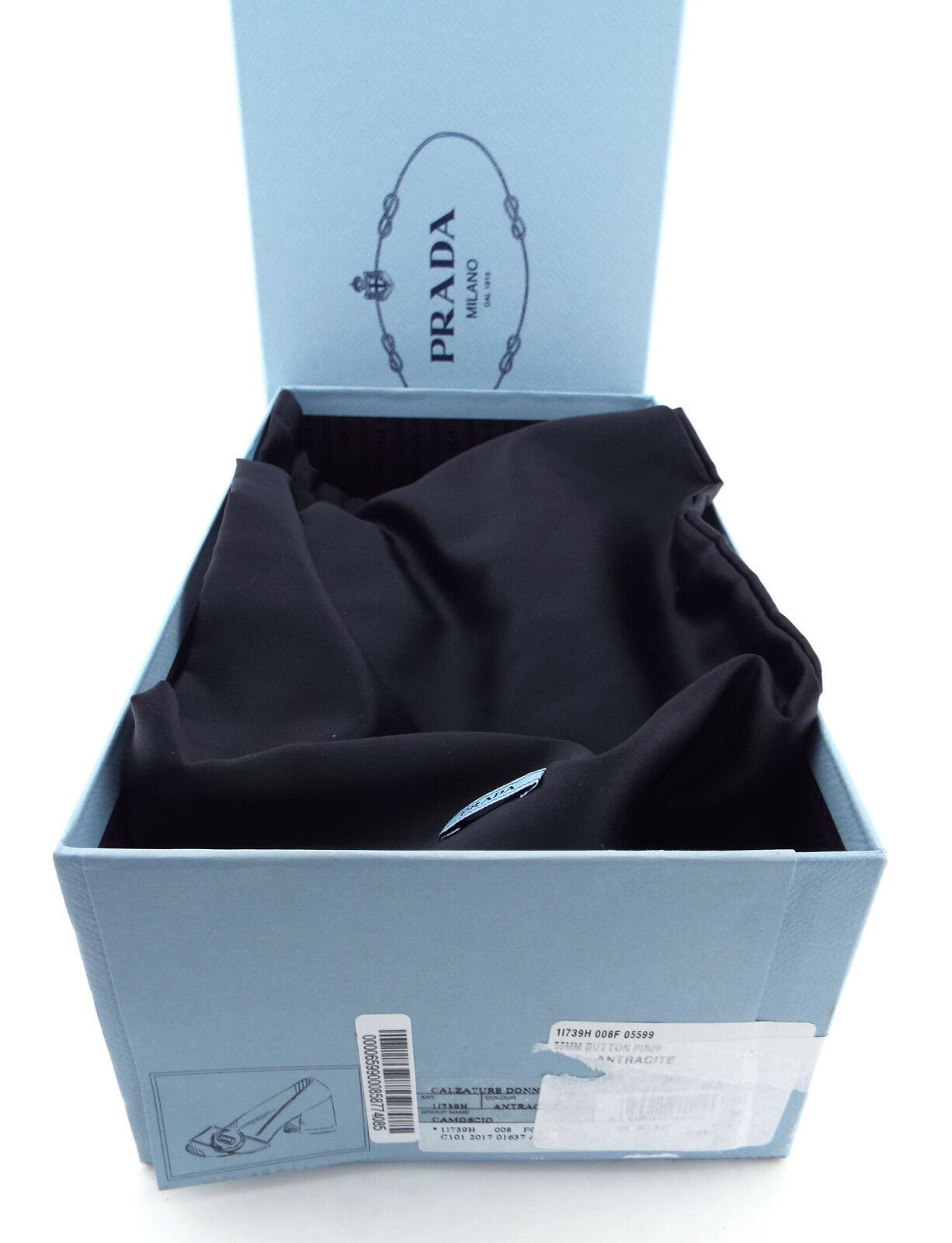New PRADA Size 6.5 Gray Suede Logo Button Block Heel Pumps Shoes 36.5
