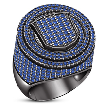 Men's Band Anniversary Ring Round Cut Blue Sapphire Black Gold Finish 925 Silver - £144.26 GBP