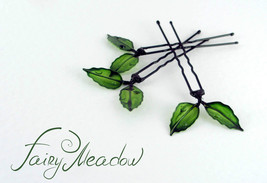Small Green Leaves Hair Pins (set of 3) Handmade Resin Kanzashi Clip Fai... - $14.00
