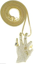 ALL IN Necklace New Iced Out Hand Pendant With 36 Inch Franco Style Chain - $35.01