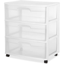 Sterilite 3 Drawer Wide Cart Plastic Storage Rolling Organizer Cabinet B... - $31.03