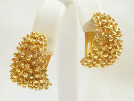 SARAH COVENTRY Gold NUGGET Plated HOOP Clip Earrings Nubby Vintage COV Wide - $14.84