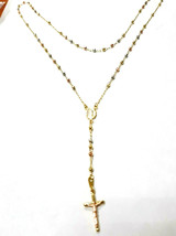 14k Gold Rosary  Lady Of Guadalupe Necklace With Diamond Cut  ON SALE - $718.74
