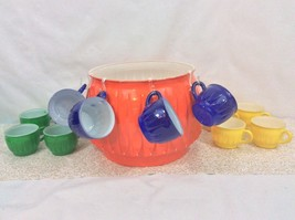 Vintage Slick And Sassy 24pcs Punch Bowl Set Jeannette Glass Co. - $55.00