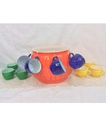 Vintage Slick And Sassy 24pcs Punch Bowl Set Jeannette Glass Co. - $54.45